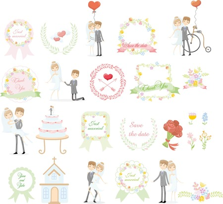 nuptial: Set of wedding design template elements for invitation cards