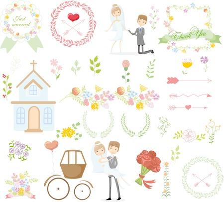 wedding veil: Set of wedding design template elements for invitation cards