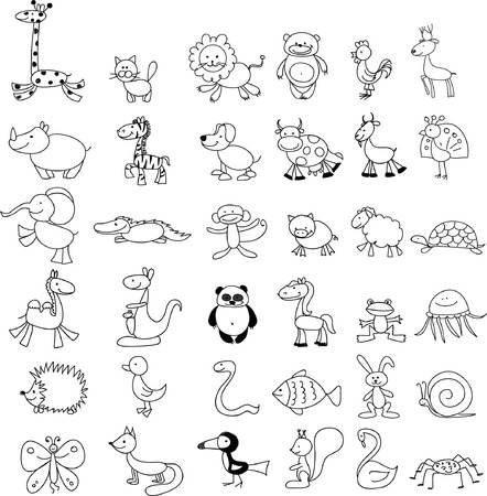 black boys: Vector doodle childrens drawings of cute animals