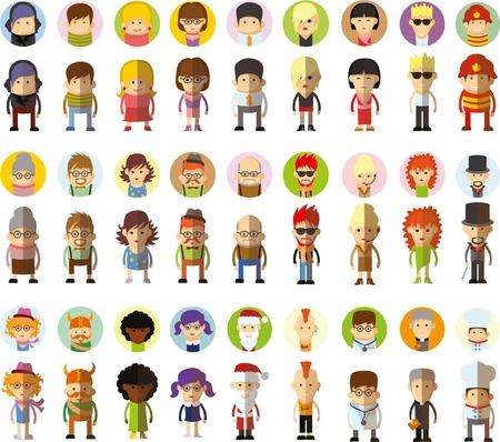 Set van vector schattig karakter avatar pictogrammen in platte ontwerp Stock Illustratie