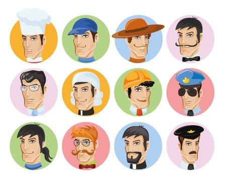 diferentes profesiones: Avatares vector de dibujos animados de diferentes profesiones Vectores
