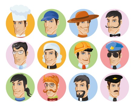 Cartoon vector avatars of different professions Vector