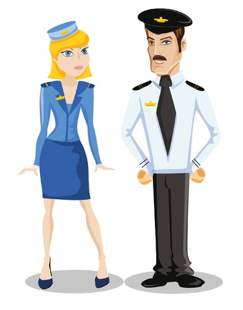 Cartoon vector characters of pilot and stewardess