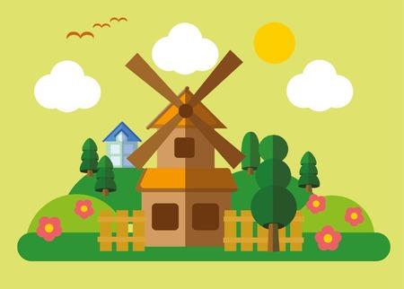 realtor: Country landscape in flat design