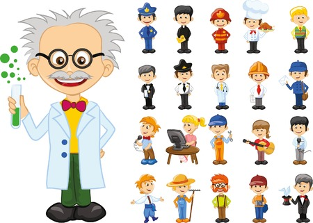 doctor illustration: Cartoon characters of different professions