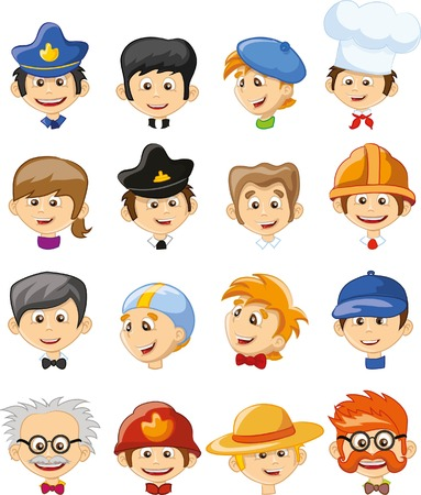 postman: Set of vector cute character avatar icons Illustration