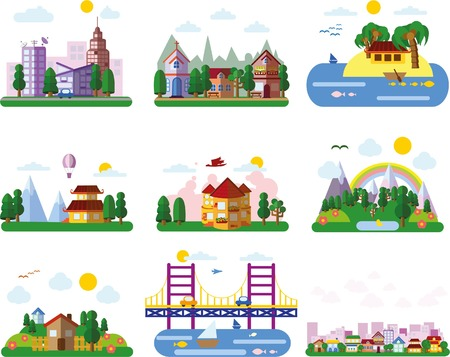 city people: Set of different landscapes in the flat style - urban Illustration