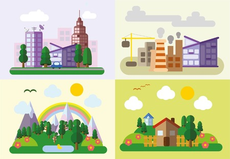 realtor: Set of different landscapes in the flat style - urban Illustration