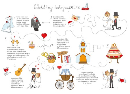 nuptial: Set of wedding doodle infographics with design template elements