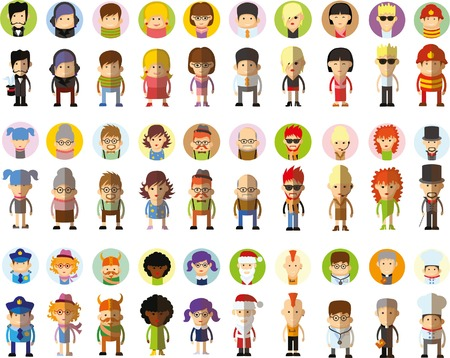 female cop: Set of vector cute character avatar icons in flat design