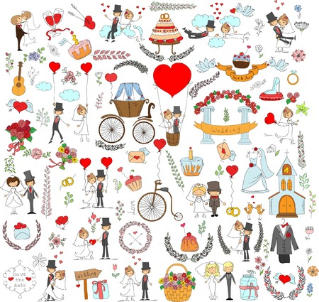 wedding couple: Doodle wedding set for invitation cards, including template design Illustration