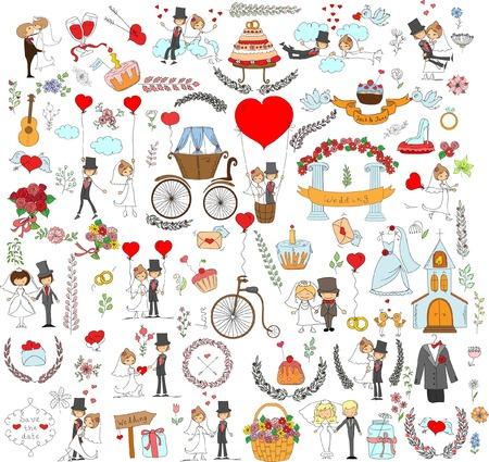 Doodle wedding set for invitation cards, including template design Illustration