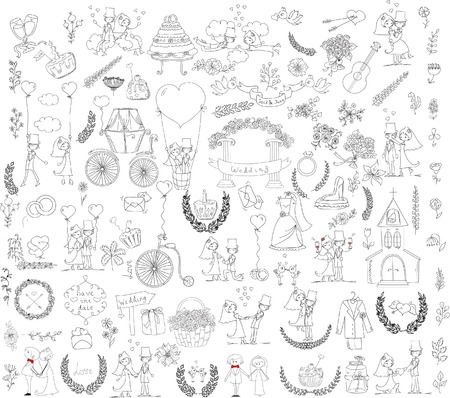 balloon woman: Doodle wedding set for invitation cards, including template design Illustration