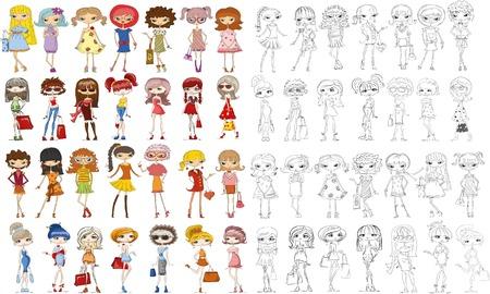Cartoon fashionable girls Vector