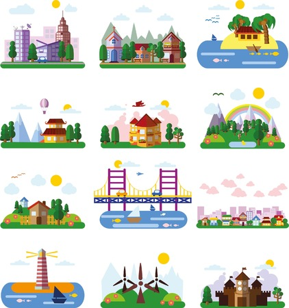 Set of different landscapes in the flat style - urban, rural, country Imagens - 39348312