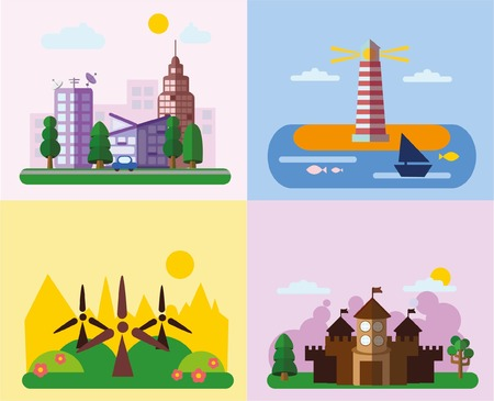 realtor: Set of different landscapes in the flat style urban