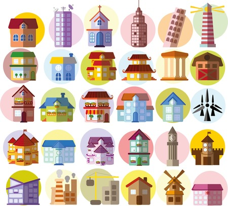 Set of different buildings and houses icons 向量圖像
