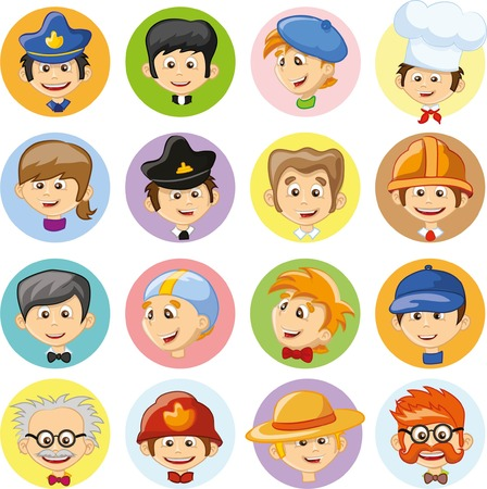 Set of vector cute character avatar icons 向量圖像