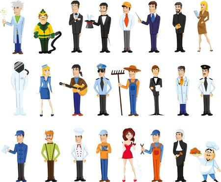Cartoon vector tekens van verschillende beroepen