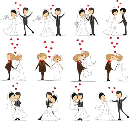 Set of wedding doodle pictures, bride and groom in love, the vector Illustration
