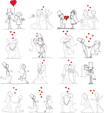 balloon woman: Set of wedding pictures, bride and groom in love, the vector Illustration