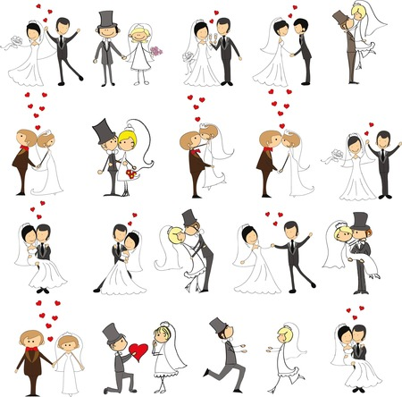 Set of wedding doodle pictures, bride and groom in love, the vector Çizim
