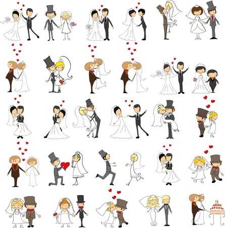 cartoon party: Set of wedding pictures, bride and groom in love, the vector Illustration