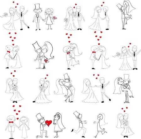 Set of wedding pictures, bride and groom in love Illustration