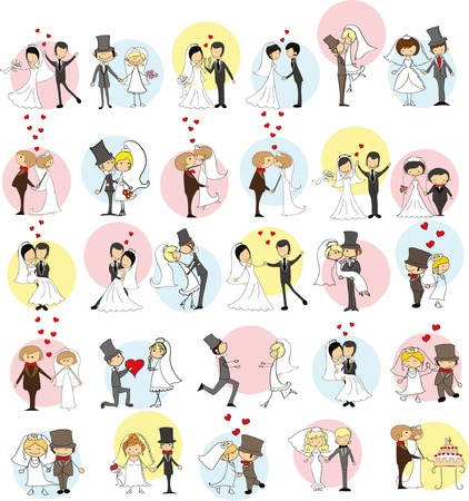 Set of wedding doodle pictures, bride and groom in love