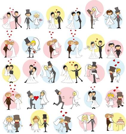 Set van trouwfoto doodle's, bruid en bruidegom in de liefde