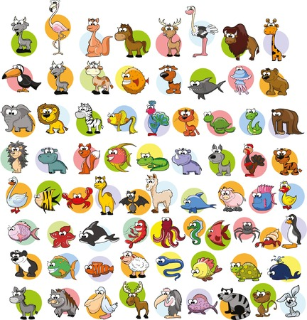 Super set of vector cute cartoon animals