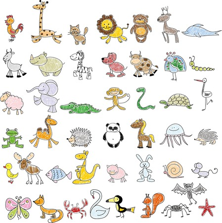 Children39s drawings of doodle animals