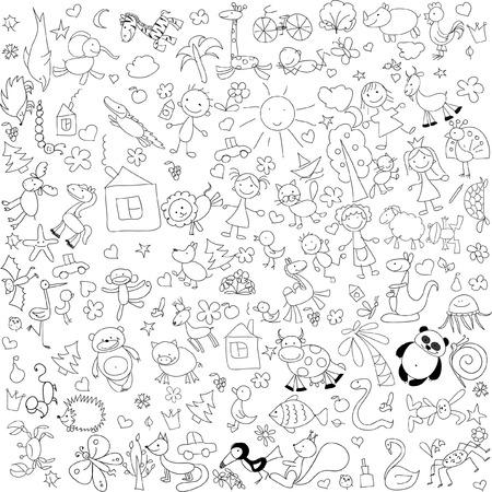 Children39s tekeningen van doodle dieren mensen bloemen Stock Illustratie