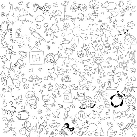 Children39s drawings of doodle animals people flowers
