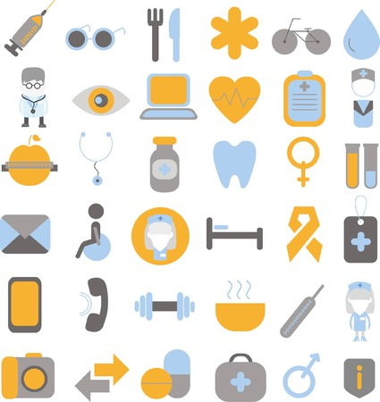 device: Set of medical and health icons set for mobile and web