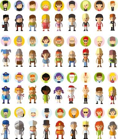 Reeks leuke karakter avatar pictogrammen in plat ontwerp Stock Illustratie