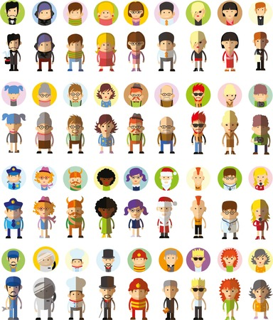 Set of cute character avatar icons in flat design Çizim