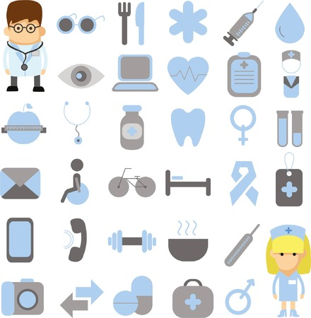 Set of vector medical and health icons set for mobile and web