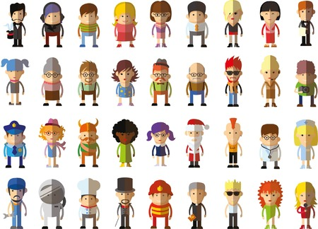 blonde hair cartoon: Set of vector cute character avatar icons in flat design
