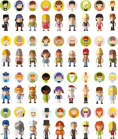ragazze bionde: Set di vettore carino carattere avatar icone in design piatto Vettoriali