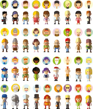 character set: Set of vector cute character avatar icons in flat design