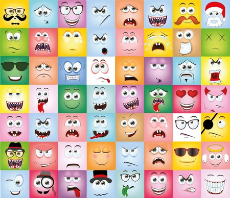 Set of cartoon faces with different emotions