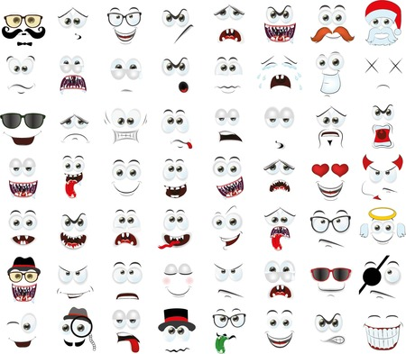 Set of cartoon faces with different emotions Banco de Imagens - 40047325