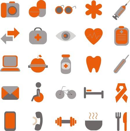 icone sanit�: Set di vettore medici e sanitari icons set per il mobile Vettoriali