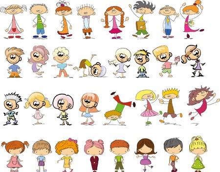 happy people: Cute happy cartoon doodle kids Illustration