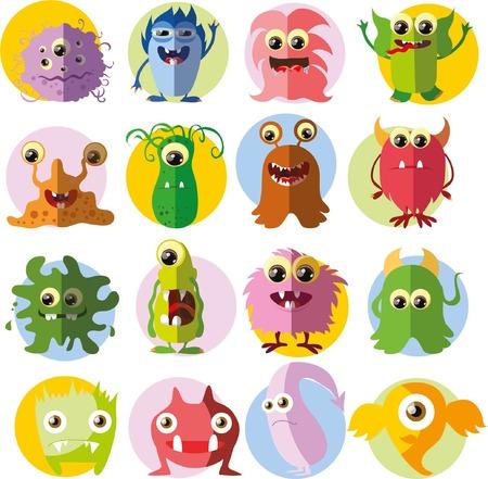 ugly gesture ugly gesture: Cartoon cute monsters and bacterias in flat design