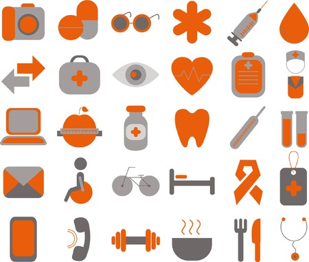 icone sanit�: Set of vector medical and health icons set for mobile