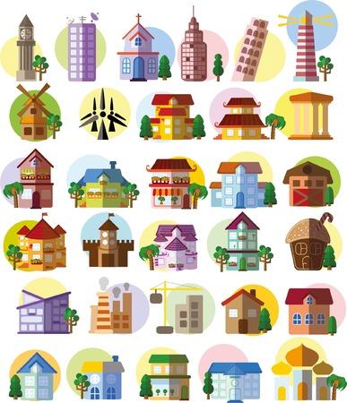 Set of vector flat buildings Vector