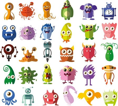 Set of vector cute monsters and robots Vector
