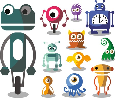 Set of cartoon vector robots Vector